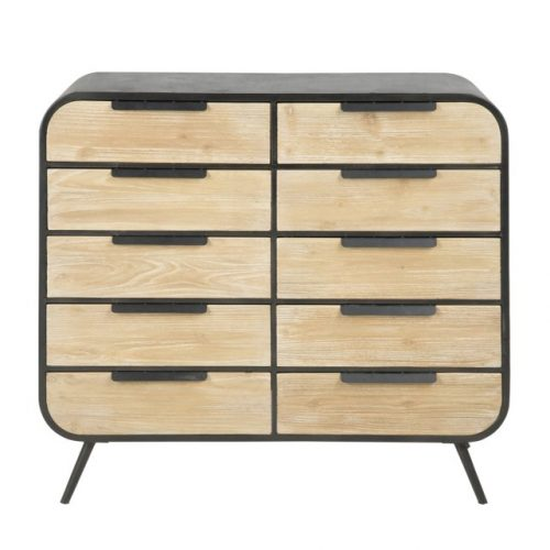 DOLIO_CHEST_METALL_BLACK_PAINTED_DRAWERS_FIR_CLEAR_LACQ_94X35X83