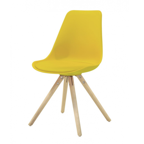 WOODY Dining chair w:yellow (4 pcs:box)