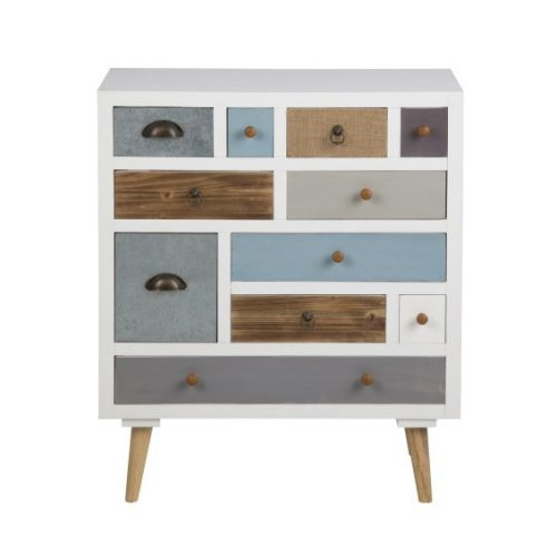 THAIS_CHEST_WHITE_11_DRAWERS_MULTI_COLOUR_LEGS_PINE_WOOD_70X32XH81