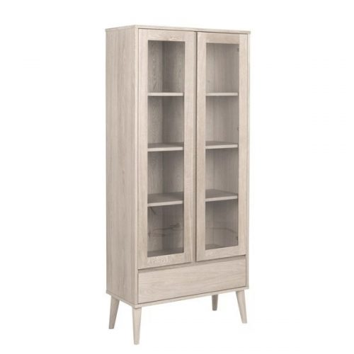 NAGANO_CABINET_OAK_VENEER_WHITE_PIGMENTED_2DOORS_GLASS_1DRAWER_80X37X178