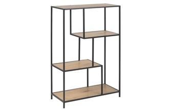 SEAFORD_BOOKCASE_2_SHELVES_PAPER_WILD_OAK_3_METAL_PC_BLACK_77X35XH108