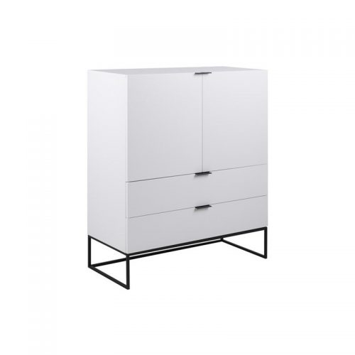 KOBE_HIGHBOARD_2D_2DR_MAP002_WHITE_CABINET_MPG001_BLACK_LEGS_100X45XH120