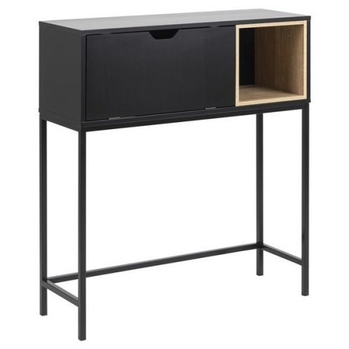 SATLEY_SECRETARY_MDF_BLACK_LACQ_CUBE_MELAMINE_OAK_1_PCS_BASE_METAL_PC_BLACK_91_5X30XH100_ORIG