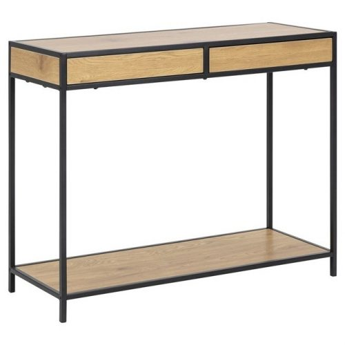 SEAFORD_CONSOLE_PAPER_WILD_OAK_2DR_1SHELF_METAL_PC_ROUGH_MATT_BLACK_100X35XH79_ORIG