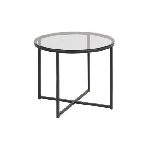 CROSS_LT_GLASS_TABLE_TOP_SMOKE_STAIN_BASE_METAL_ROUGH_PCT_MATT_BLACK_5_55XH45_ROUND
