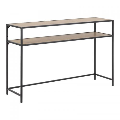 SEAFORD_CONSOLE_PAPER_WILD_OAK_1SHELF_OPEN_END_BASE_METAL_PC_ROUGH_MATT_BLACK_120X35XH79_ORIG