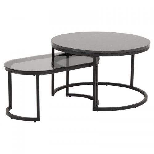 SPIRO_NEST_TABLES_1PC_MELAMIN_MARBLE_BLACK_1PC_SMOKE_GLASS_MET_PC_MAT_BLACK_70XH42_ROUND_ORIG
