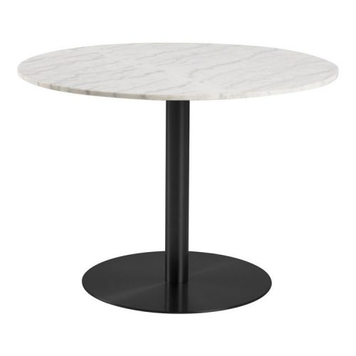 CORBY_DT_MARBLE_TABLE_TOP_QUANGXI_WHITE_BASE_POWDER_COATED_ROUGH_BLACK_105XH75_ROUND_MANI