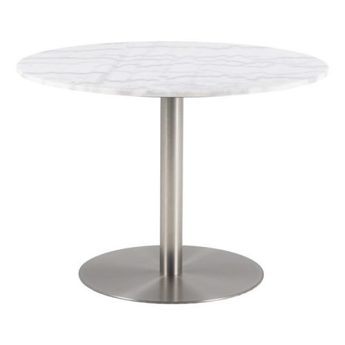 CORBY_DT_MARBLE_TOP_GUANGXI_WHITE_BASE_BRUSHED_CHROME_105XH75_ROUND_ORIG